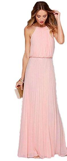 b3757d5b74 TSRJ Women s Keyhole Halter Sleeveless Loose Pleated Chiffon Long Prom Dress  for Bridesmaid at Amazon Women s