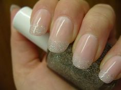 french tip glitter nails