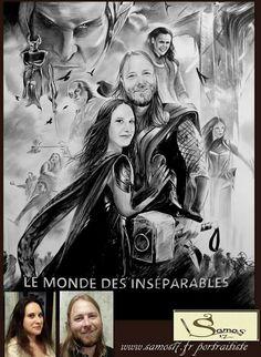 Dessin couple affiche cinema thor. Dessin portrait au crayon www.samos17.fr portraitiste sur commande