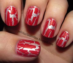 silver/red crackle