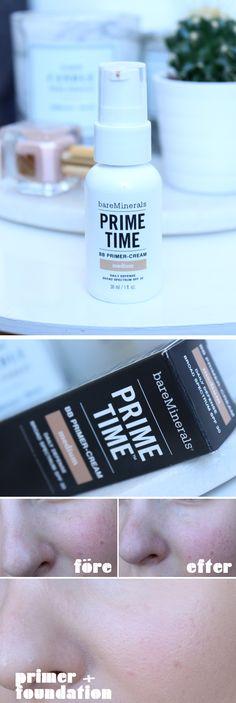 bae minerals primer medium recension test före efter swatches porer jämna ut huden hiilen sminklbogg skönhetsblogg