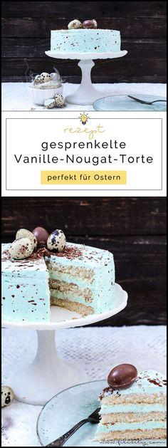 Speckled vanilla nougat cake – perfect for Easter - Cupcake Pink Ideen Keto Donuts, Baked Donuts, Purple Velvet Cakes, Pink Velvet, Nougat Torte, Desserts Ostern, Coconut Dessert, Easter Dinner Recipes, Chocolate Donuts