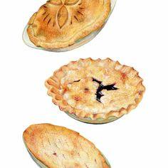 Three Pies Art // Food Illustration // Food Art by KendyllHillegas