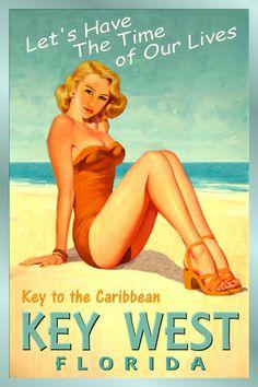 KEY WEST Florida New Caribbean Sea Shore Ocean Beach Poster PinUp Art Print 205a