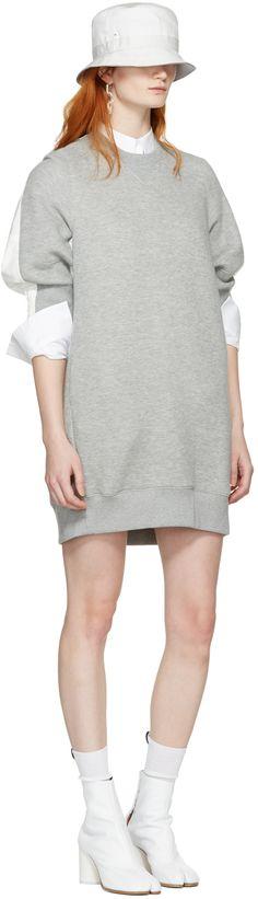 Sacai: Grey Sweatshirt Dress | SSENSE