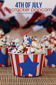 Firecracker popcorn drizzled in sweet coloring -- the perfect Fourth of July dessert. 4th Of July Desserts, Fourth Of July Food, 4th Of July Celebration, 4th Of July Party, July 4th, Patriotic Party, Holiday Treats, Holiday Recipes, Fun Recipes