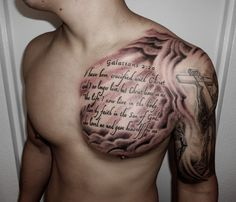 Along with biblical quotes and symbols, one can also sport imageries such as Gates of Heaven, the Dove of Peace, scripture sleeves, hands and the Cross. Description from tattoosforyou.org. I searched for this on bing.com/images