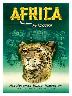 Pan American Airlines Posters | Pan American: Africa by Clipper, c.1950 Art Print