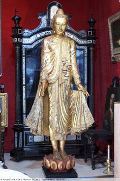 Exceptionnel Bouddha en bois polychromé - AnticStore Antiquités 19ème siècle - Réf.21620
