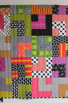 """Modern Baby Quilt """"William"""" Contemporary Geometric Pattern in Pink, Green, Purple; Baby, Toddler, Child or Lap Quilt, Play Mat, Wall Hanging... 43x43"""