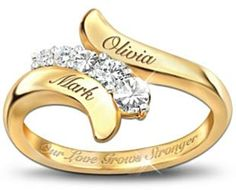 """Our Love Grows Stronger Personalized Journey Ring: Love the elegant engraving of the couple's names on the front. The inside is inscribed, """"Our Love Grows Stronger"""". Cheap Promise Rings, Promise Rings For Girlfriend, Promise Rings For Couples, Diamond Promise Rings, Gold Ring Designs, Gold Earrings Designs, Ring Design In Gold, Engagement Rings Couple, Vintage Engagement Rings"""