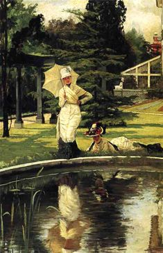 The Athenaeum - In an English Garden (James Tissot - )  Owner/Location: Private collection Dates: 1878 Artist age:Approximately 42 years old. Dimensions: Height: 75.88 cm (29.88 in.), Width: 51.44 cm (20.25 in.) Medium: Painting - oil on canvas