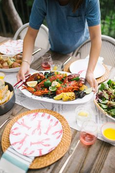 Create your own dishware and decor for a colorful summer seafood boil!