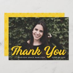 """Graduation thank you card personalized with the graduate's photo, name, and graduation year. """"Thank You"""" is displayed in a bold yellow script font. Designed by Late Bloom Paperie. #graduationthankyoucards #graduationthankyounotes #graduationthankyoucardswithphoto #graduationthankyoucardtemplate #zazzle #ad Graduation Thank You Cards, Graduation Year, Graduation Party Invitations, Graduation Party Decor, Graduation Announcement Template, Graduation Announcements, Thank You Card Template, Custom Thank You Cards, Graduation Cap Toppers"""