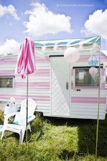 Cute pink caravan
