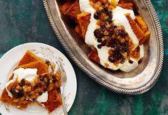 Pumpkin-Ginger Polenta with Stewed Fruit and Mascarpone Cream Recipe