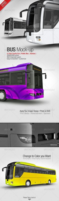 2 Bus Mockup Template #psd #mockup #bus #graphic