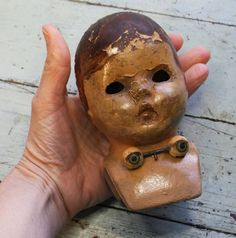 Vintage Composition Doll Head Creepy Sleeping by VintageSupplyCo