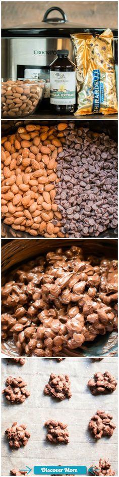 Slow Cooker Sea Salt Chocolate Almond Clusters #slowcooker #slowcook #slowcookerrecipes #slowcookerchicken
