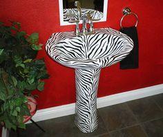 Image Detail for - Decorated Bathroom Fixtures-Zebra Pedestal Sink
