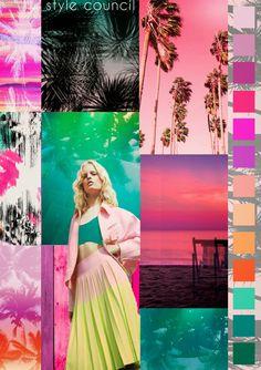 The Style Council-Paradise Spring/Summer 2015 Color story Sunset Color Palette, Sunset Colors, 2016 Fashion Trends, 2015 Trends, Tropical Colors, Tropical Prints, The Style Council, Crazy Colour, Color Studies