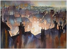 Rooftops of Rye - England by Thomas W. Schaller Watercolor ~ 18 inches x 24 inches