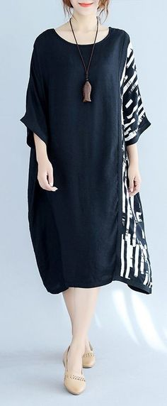baggy black Midi-length cotton t shirt trendy plus size traveling clothing top quality batwing sleeve patchwork natural cotton pullover Source by chimeremugo adolescente gorditas Dress Outfits, Casual Dresses, Fashion Outfits, Womens Fashion, Dress Fashion, Petite Fashion, Curvy Fashion, Fashion Clothes, Vintage Dresses