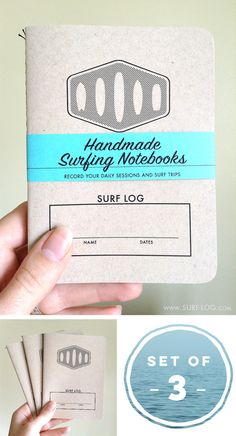 Surf Log - record your daily surf sessions and surf trips - Surf Tracking Notebooks - Gift for a Surfer - Notebook for Surfers - Set of 3