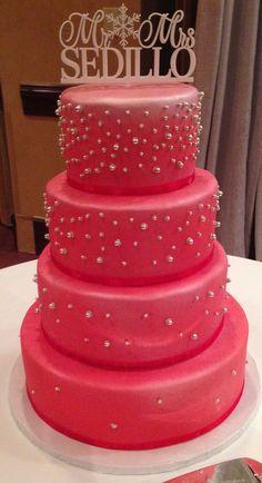 A pink wedding cake