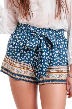 Blue Floral Loose Shorts