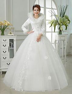 Ball+Gown+Wedding+Dress+Floor-length+V-neck+Cotton+/+Organza+/+Satin+with+–+USD+$+89.99