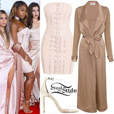 Normani Kordei posed with her bandmates at the People's Choice Awards last night wearing a PrettyLittleThing Tarah Boned Lace-up Bandeau Bodycon Dress ($78.75), House of CB Coryn Silky Duster Coat ($158.00) and sandals similar to these from Public Desire ($44.99).