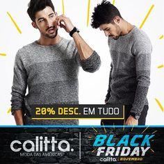 A #BlackFriday na #CalittaBrasil já começou! Conheças a nova coleção de #Camiseta masculinas e todo o site com 20% de Desconto o mês inteiro. Confira > www.calitta.com