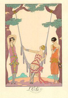 Art Deco fashion illustration by George Barbier. by OuttakePrints Art Deco Illustration, Fashion Illustration Vintage, Fashion Illustrations, Art Deco Posters, Vintage Posters, Vintage Art, Art Deco Print, Art Deco Design, Art Prints
