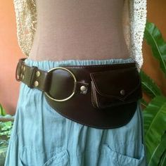 Leather Utility Belt Bag / Fanny Pack / Steampunk / Festival / Pockets