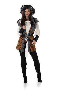 Elegante Piratin Damenkostüm braun-weiss, aus unserer Kategorie Piratenkostüme. Diese Piratin hat eine sehr enge Beziehung zu ihrem Kapitän. Der alte Seeräuber sollte sich allerdings in Acht nehmen - die Piratenlady hat ihren Dolch schon gewetzt, um ihn diesem ins Herz zu stoßen. Denn sie träumt schon seit Jahren davon, selbst ein Piratenschiff zu befehligen! Mit diesem Kostüm für Damen macht man zu Karneval und auf Mottopartys stets eine gute Figur. #Faschingskostüm