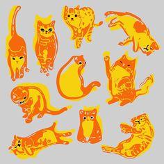 Played with my cats. By Marie Åhfeldt, Mås Illustra. www.masillustra.se #illustration #drawing #cats #pattern #masillustra