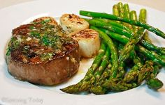 Steak and Scallops with Roasted Asparagus: 30 Minute Valentine Dinner.