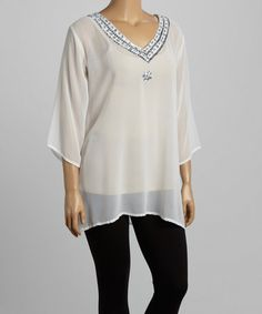 Another great find on #zulily! Ivory Sheer Star Tunic - Plus #zulilyfinds
