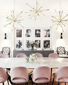 modern dining room design with pink velvet dining room chairs and modern marble dining room table, black and white wall gallery in modern dining room decor Dining Room Wall Decor, Dining Room Lighting, Dining Room Design, Dining Room Furniture, Room Decor, Dining Area, Design Kitchen, Kitchen Dining, Dining Table In Living Room