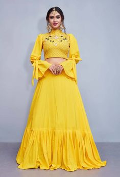 70d7dbb78c Yellow embroidery art silk designer ethnic lehengas with matching blouse