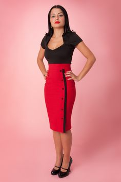 Steady Clothing - Sarina Button Slit pencil skirt red  $80