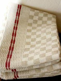 Vintage French Linen Red Stripes Kitchen Towels Linen Towels
