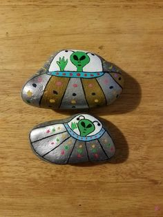 Ufos and aliens painted rocks