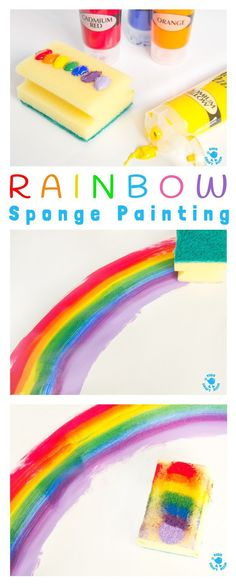 Rainbow Sponge Painting Rainbow Sponge Painting – fun rainbow art for kids that explores colour mixing, blending and textures. Rainbow Sponge Painting Rainbow Sponge Painting – fun rainbow art for kids that explores colour mixing, blending and textures. Toddler Crafts, Preschool Crafts, Kids Crafts, Crafts For Babies, Arts And Crafts For Kids Toddlers, Quick Crafts, Crafts For Girls, Baby Crafts, Rainbow Crafts
