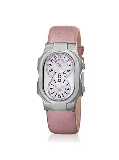 Philip Stein Women's 1NFMOPCMLA Pink/Mother-of-Pearl Leather Watch at MYHABIT
