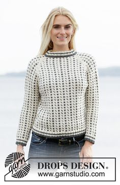 Knitted jumper with Nordic Icelandic pattern and raglan in DROPS Lima. Sizes S - XXXL. Drops Design, Knitting Patterns Free, Free Knitting, Free Pattern, Pullover Sweaters, Jumper, Magazine Drops, Icelandic Sweaters, Knitting Gauge