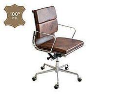 Silla de despacho en acero inoxidable y piel de cuero - marrón