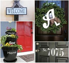 Front Porch Inspiration:  Monograms, wreaths, flower posts, house numbers, and more  ... oh my.  Wonder how long it would be before I kill those pretty potted flowers ... #springintothedream
