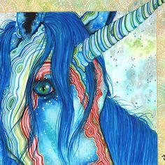 Chalta, Unicorn Art by Nadine Thome. Gemstones, agate, rainbow, fantasy art, watercolors